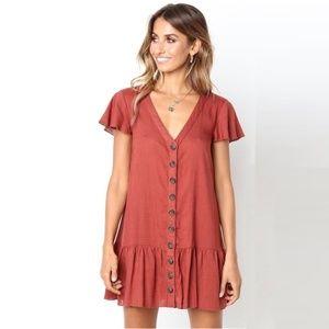 Linen Button Up Ruffle Mini Dress